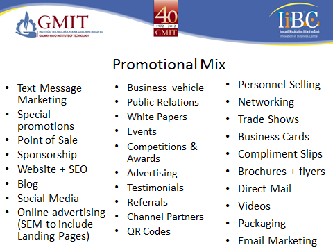 Promotional Mix on one slide