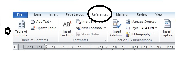 Adding contents page to Word