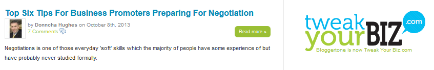 Tweak Your Biz Negotiation article by Donncha Hughes