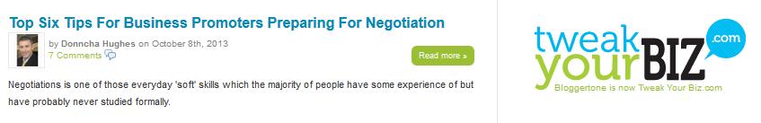 Tweak Your Biz Negotiation article by Donncha Hughes