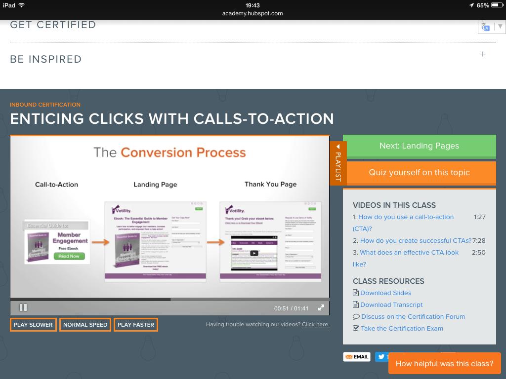 The Conversion Process - Calls to Action via Hubspot Academy