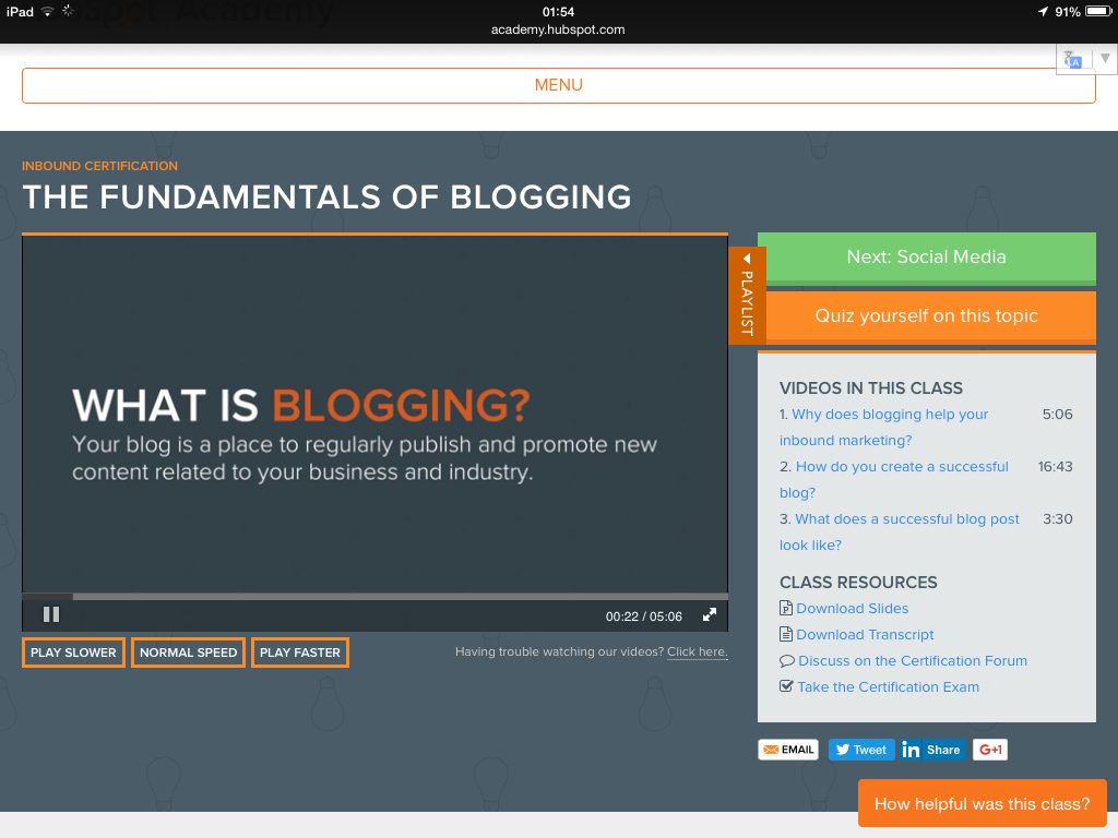 What is blogging according to Hubspot