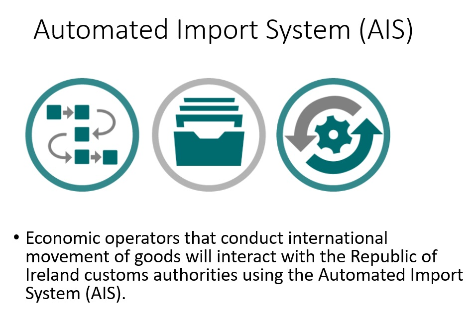 Economic operators that conduct international movement of goods will interact with the Republic of Ireland customs authorities using the Automated Import System (AIS).