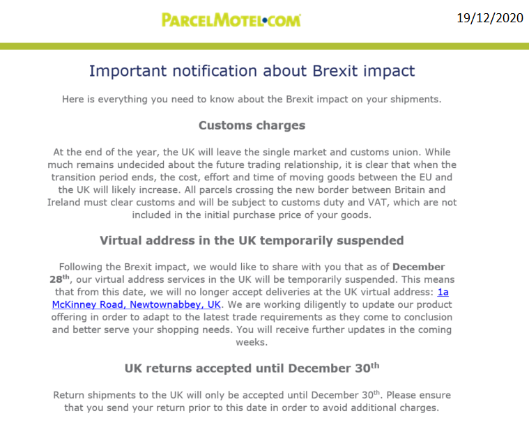 Brexit update from Parcel Motel